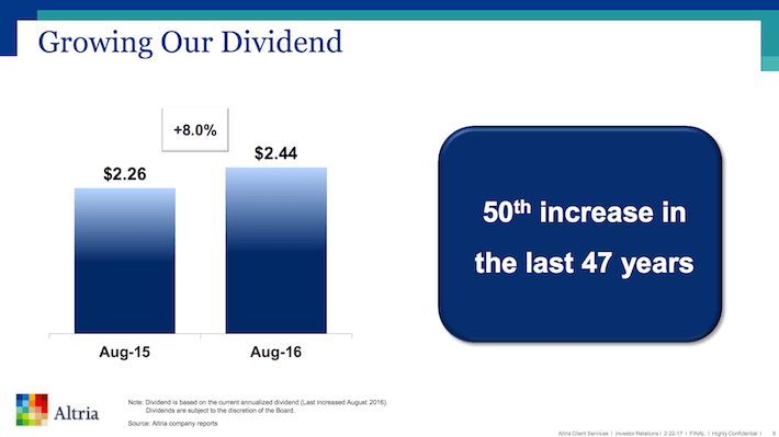 MO Growing Our Dividend