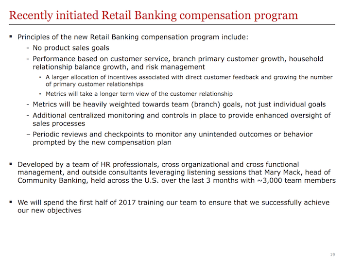 WFC Recently Initiated Retail Banking Compensation Program