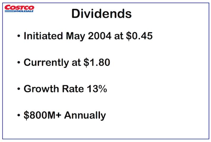 COST Costco Wholesale Dividends