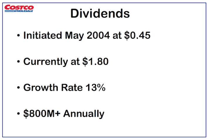 COST Costco Wholesale Dividends