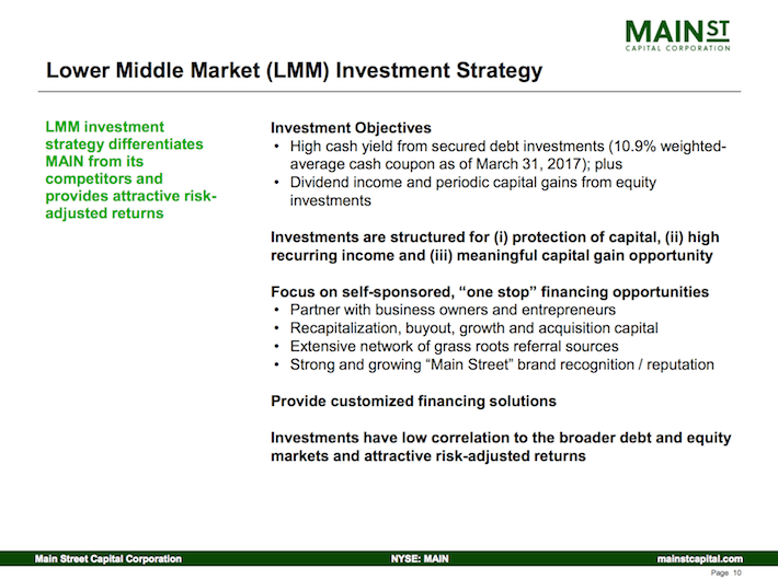 Main Street Capital Corporation Lower Middle Market Investment Strategy