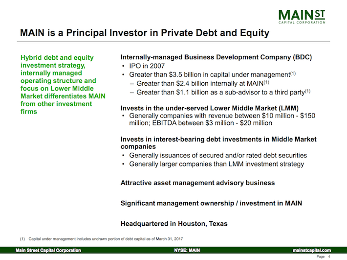 Main Street Capital Corporation MAIN is a Principal Investor in Private Debt and Equity