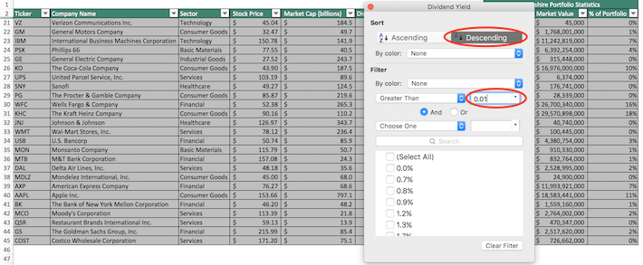 Warren Buffett's Top Stocks Excel Screenshot 2