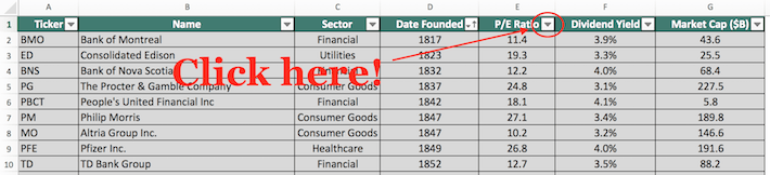 Blue Chip Stocks Excel Tutorial 3