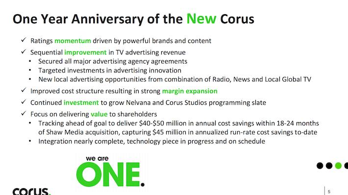 CJREF One Year Anniversary of the New Corus