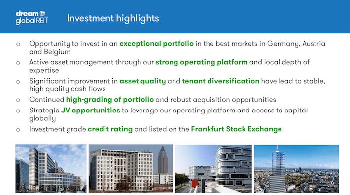 DUNDF Dream Global REIT Investment Highlights