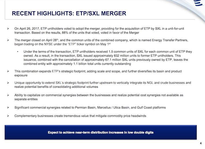 ETE Energy Transfer Equity Recent Highlights - ETP:SXL Merger