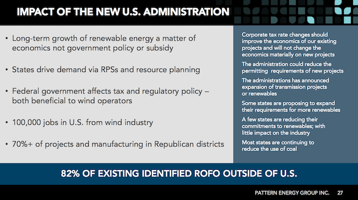 PEGI Pattern Energy Group Impact of the New U.S. Administration