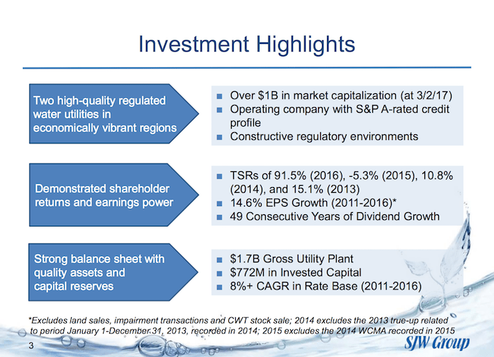 SJW Group Investment Highlights