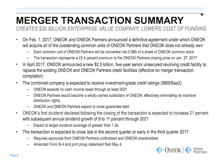 OKE ONEOK Merger Transaction Summary