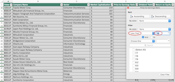 Nikkei 225 Stocks Excel Tutorial 11