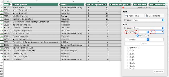 Nikkei 225 Stocks Excel Tutorial 7