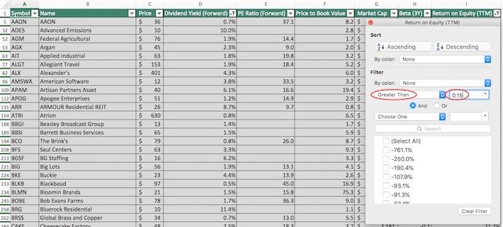 Russell 2000 Stocks Excel Tutorial 8