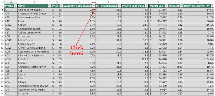 S&P 500 Stocks Excel Tutorial 5