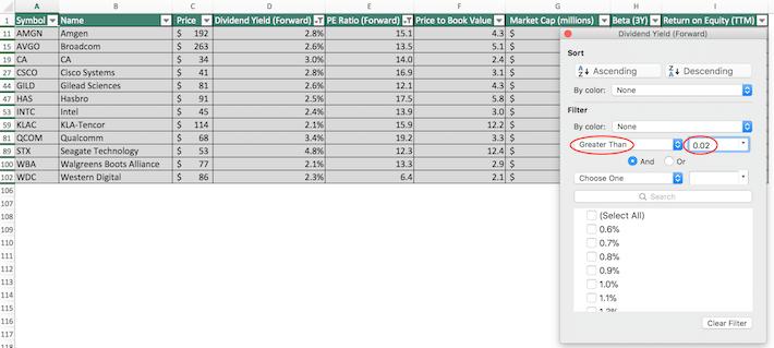 NASDAQ 100 Stocks Excel Tutorial 12