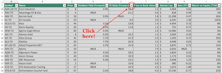 S&P TSX Composite Stocks Excel Tutorial 1