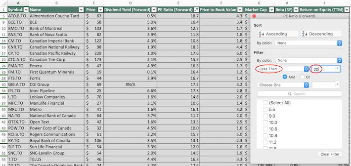 TSX 60 Stocks Excel Tutorial 2