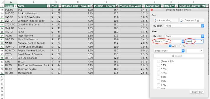 TSX 60 Stocks Excel Tutorial 4