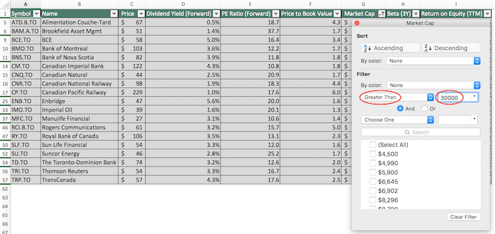 TSX 60 Stocks Excel Tutorial 6
