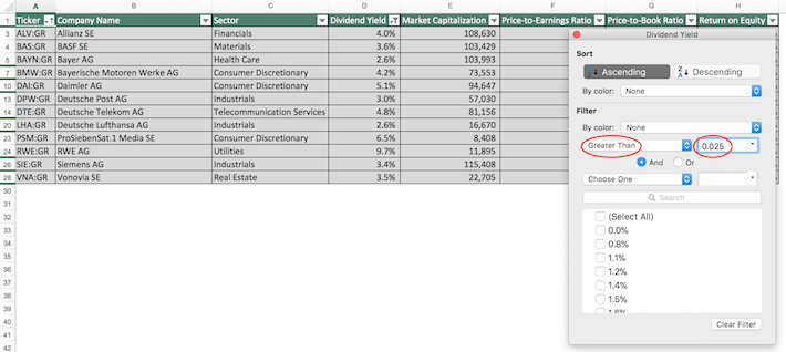 Dax Index Stocks Excel Tutorial 6