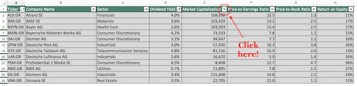 Dax Index Stocks Excel Tutorial 7