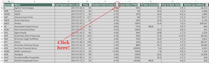 July Dividend Stocks Excel Tutorial 5