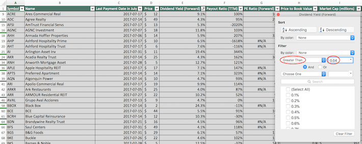 July Dividend Stocks Excel Tutorial 6