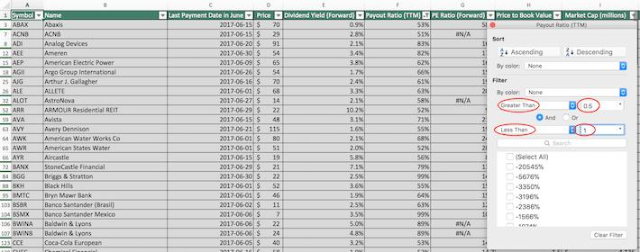 June Dividend Stocks Excel Tutorial 3