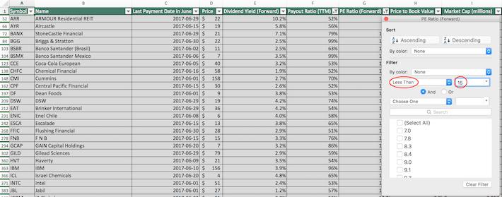 June Dividend Stocks Excel Tutorial 5
