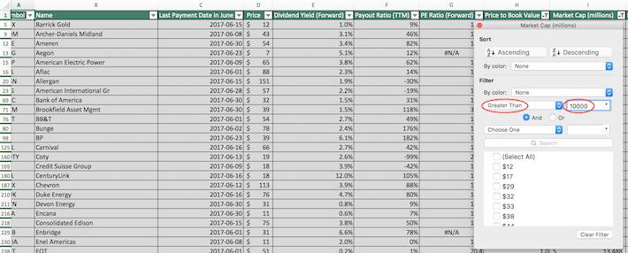 June Dividend Stocks Excel Tutorial 9