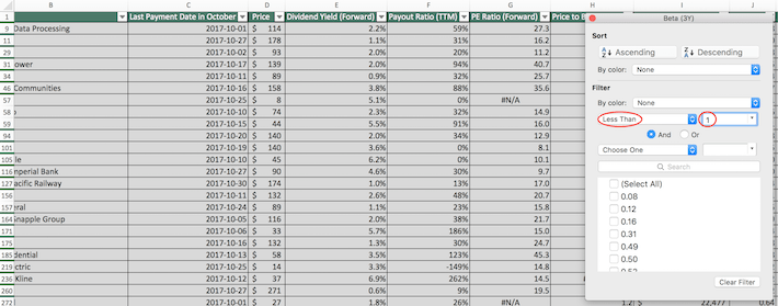 October Dividend Stocks Excel Tutorial 4