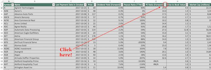 October Dividend Stocks Excel Tutorial 5