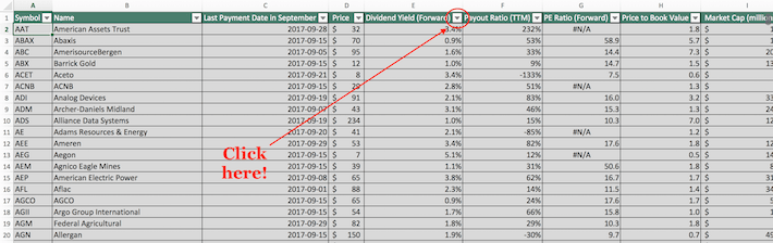 September Dividend Stocks Excel Tutorial 5