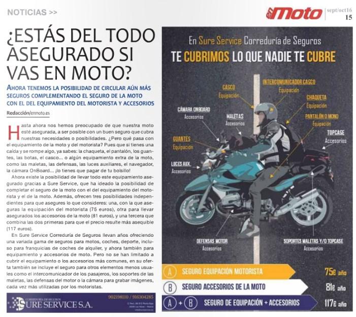 Se hacen eco de nuestro Seguro de Equipación y Accesorios de la Moto