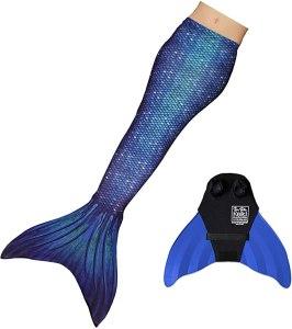 realistic looking mermaid tail in dark blue