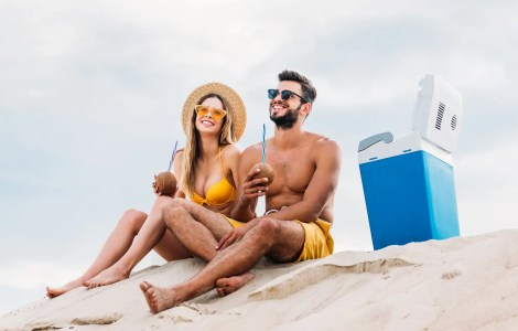 young couple at cloudy beach