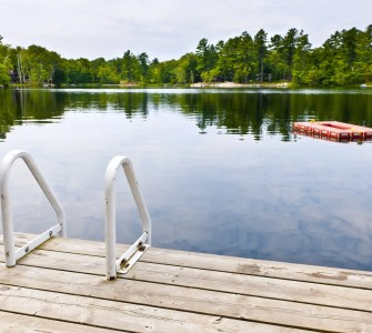 boating pier with inflatable dock in lake