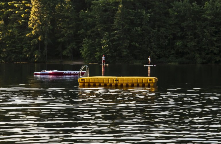 inflatable dock on a lake