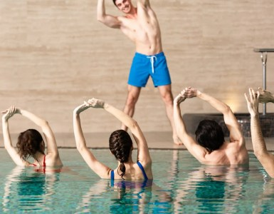 water aerobics in a pool