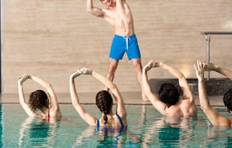 water aerobics in a pool