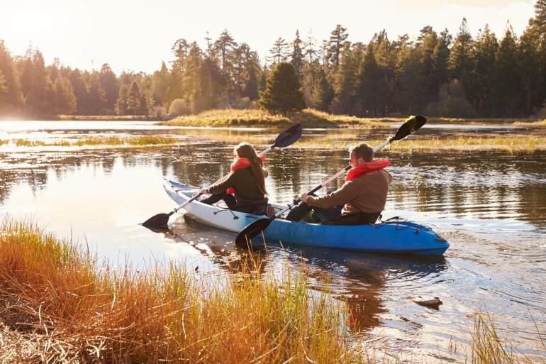 kayaking in shallow lake