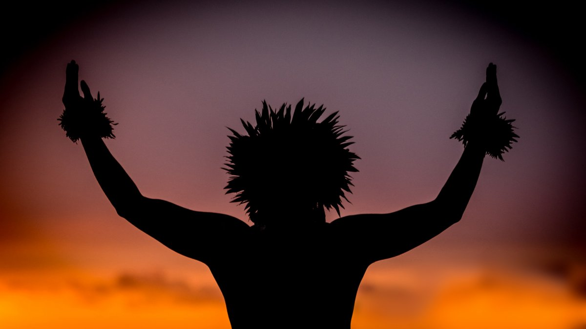 Fine art Polynesian dancer in silhouette