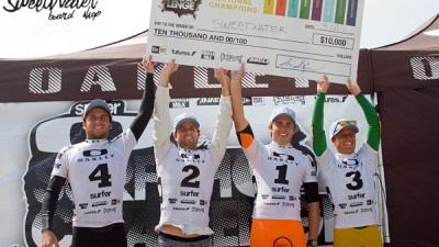 Team Sweetwater, back-to-back Surf Shop Challenge champs. (L to R) Ben Powell, Ben Bourgeois, Nick Rupp, Mike Powell.