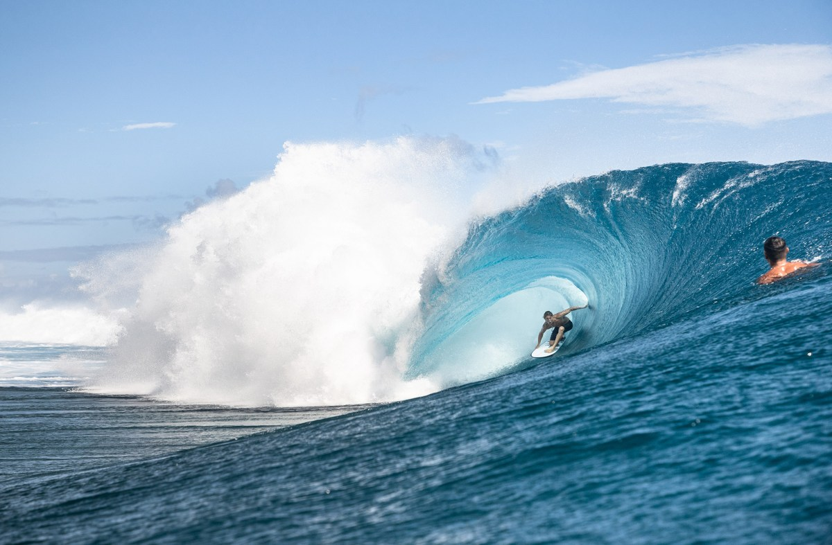 Eimeo Czermak, stylishly threading the inside ledge at Teahupo'o like few can.