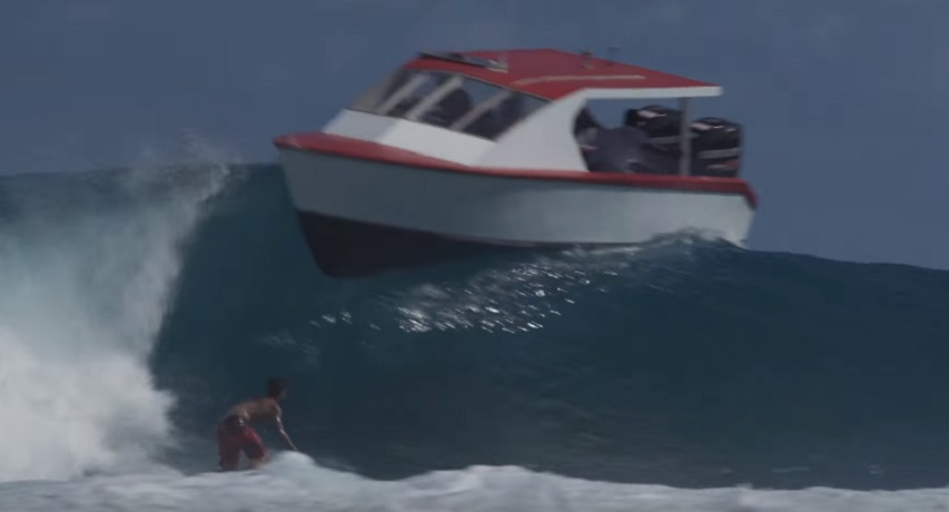 Gabriel Medina has a close call with a Boat