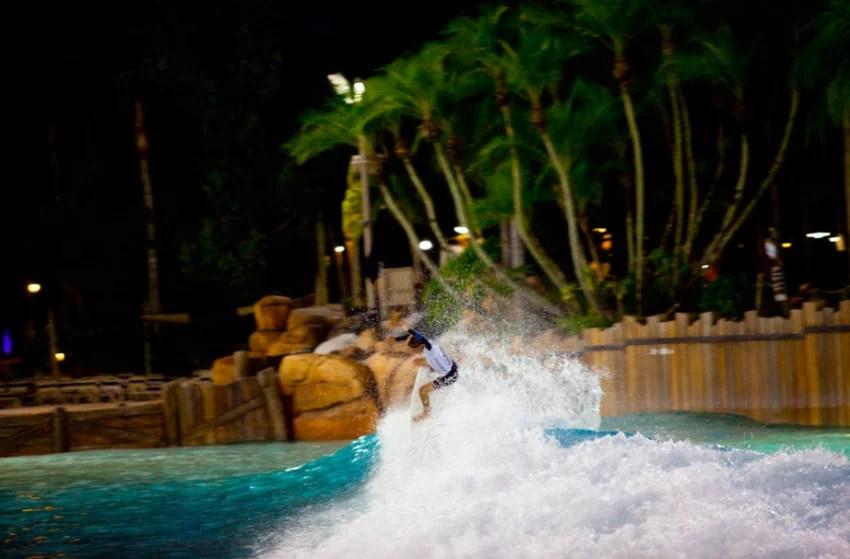 Daniel Glenn boosting during the Oakley Surf Shop Challenge at Typhoon Lagoon Wave Pool   Surf Park Central