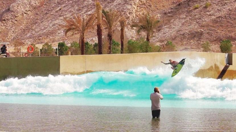 Chippa Wilson surfing Wadi Adventure Wave Pool in Al Ain, UAE
