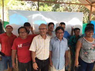 Part of the group that received reading glasses.