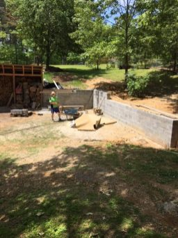 Al spends most days working outside - he planted the garden (with help from Mike and Kelly) and built the retaining wall and steps.
