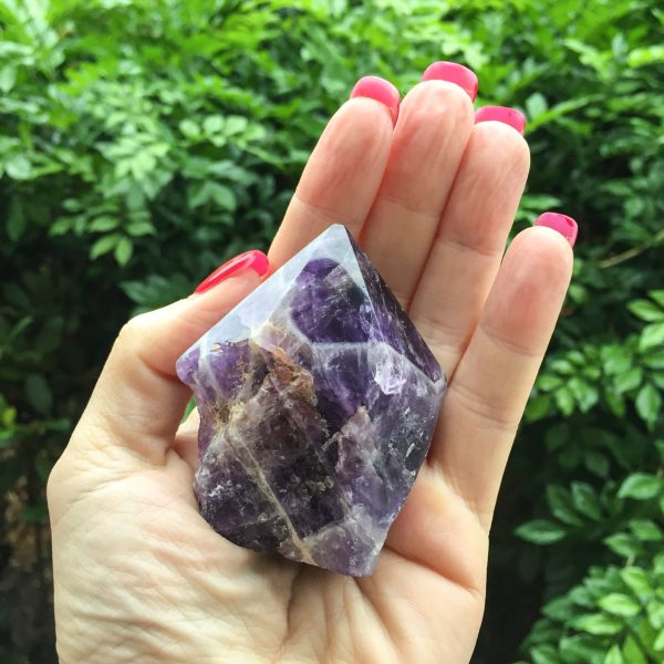 Chevron Amethyst Polished Point 1